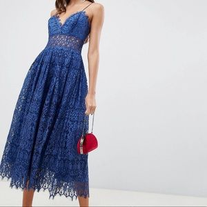 ASOS Lace Cami Midi Dress Size 6 in Deep Blue